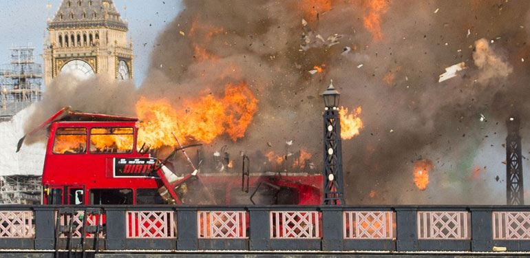 Bus on London's Lambeth Bridge in Flames for Movie Stunt